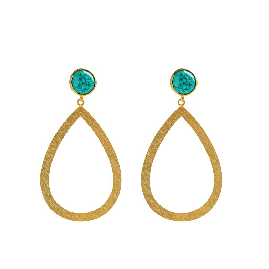 Lennox stud earrings in turquoise - Statement Pieces