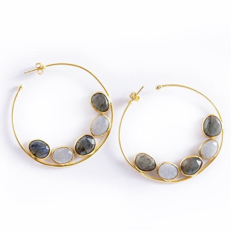 Luna flat gemstone hoops in labradorite and moonstone - Statement Pieces