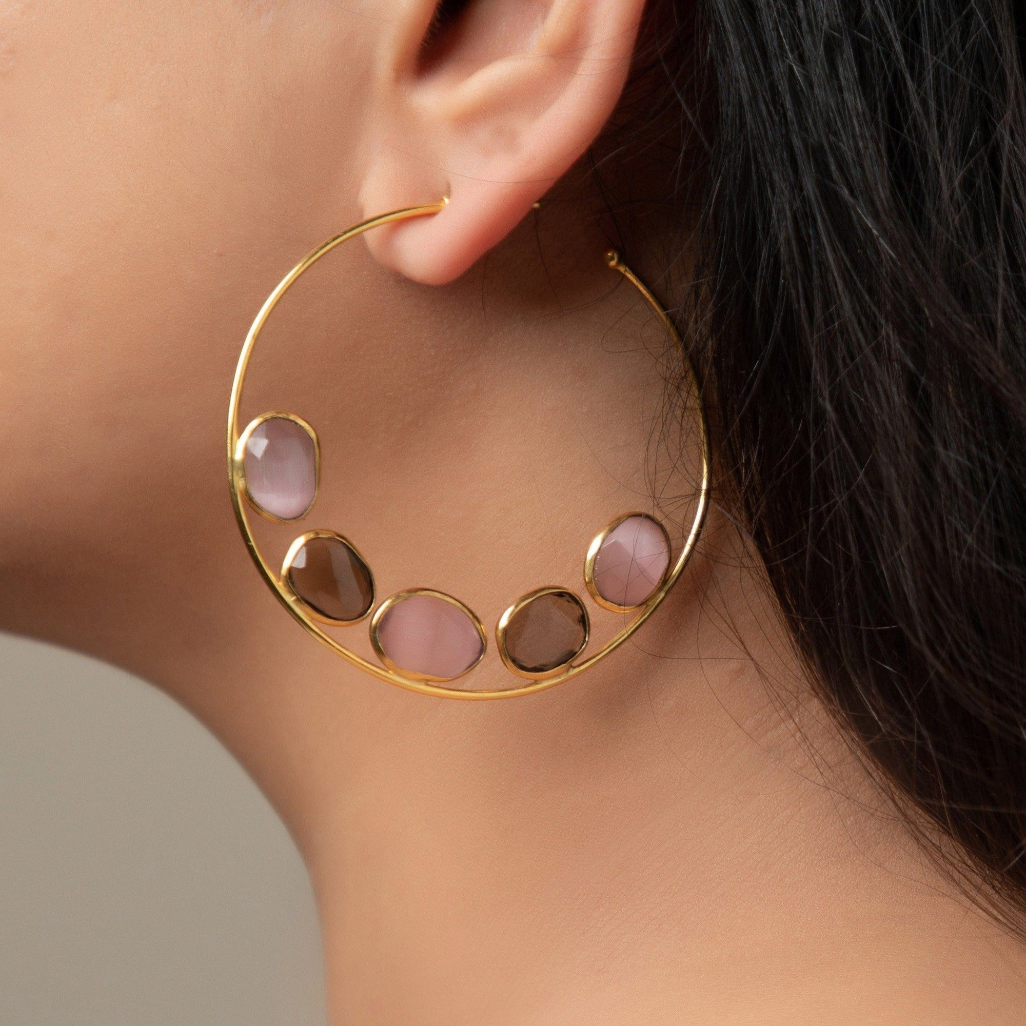 Luna flat gemstone hoops in pink onyx and smoky topaz - Statement Pieces