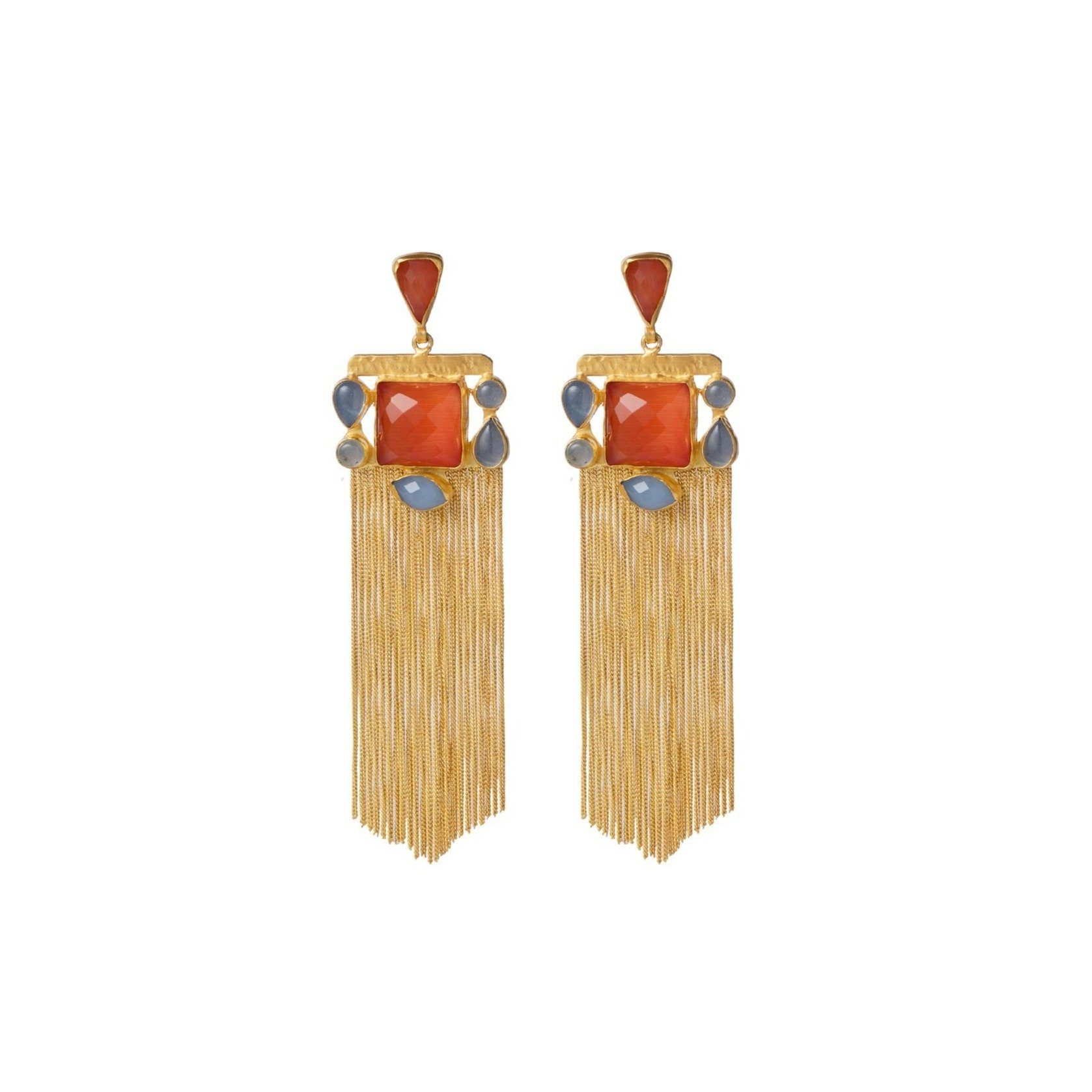 Lyra tassel earrings in blue chalcedony and orange onyx - Statement Pieces