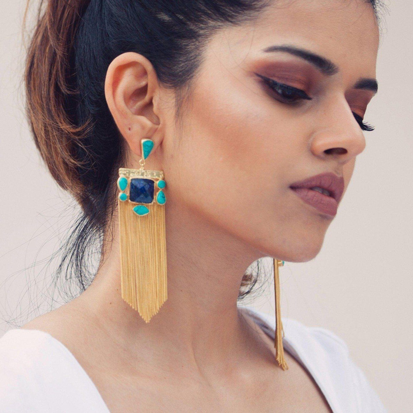 Lyra tassel earrings in turquoise and lapis - Statement Pieces