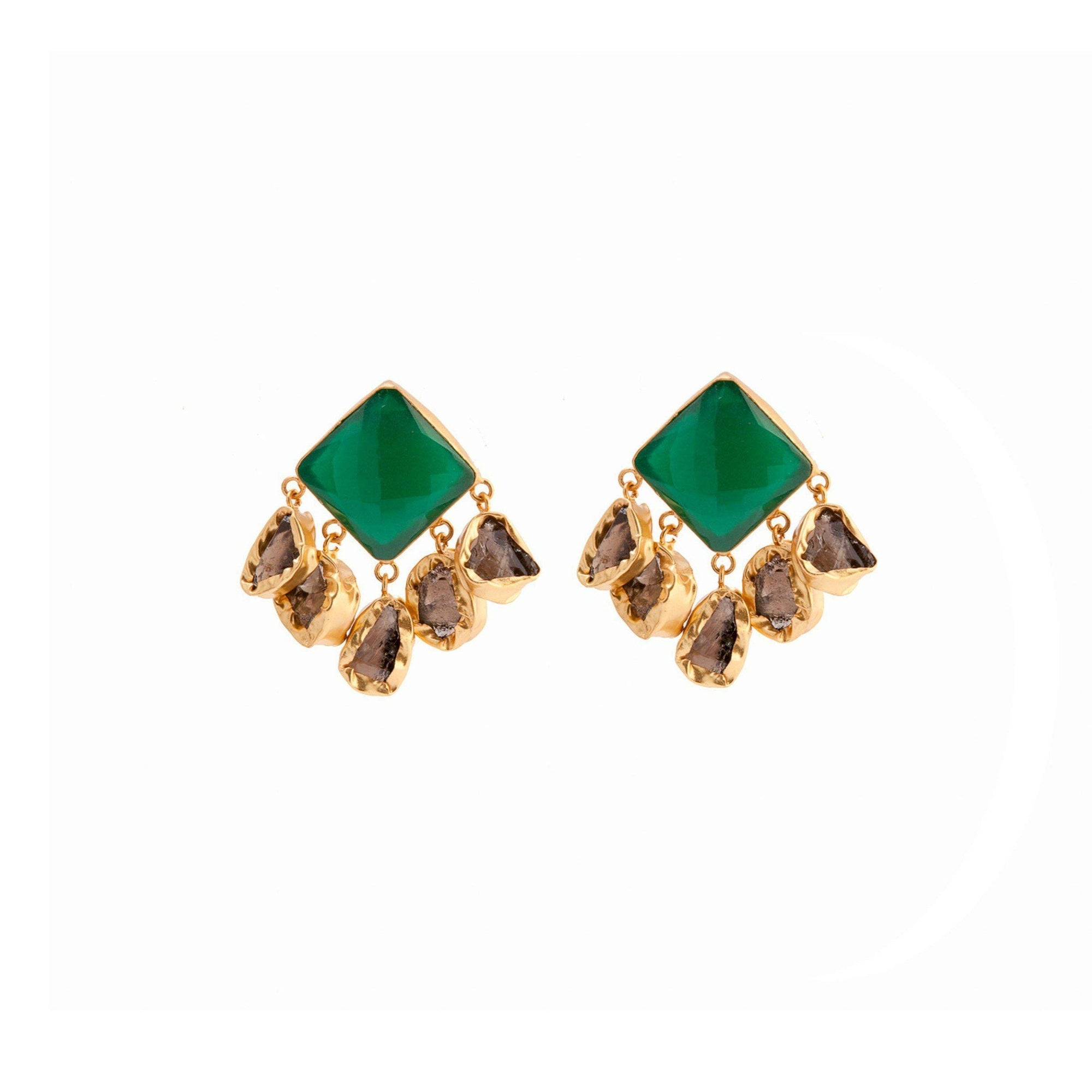 Nebula five stone drop earrings in green onyx and smoky topaz - Statement Pieces