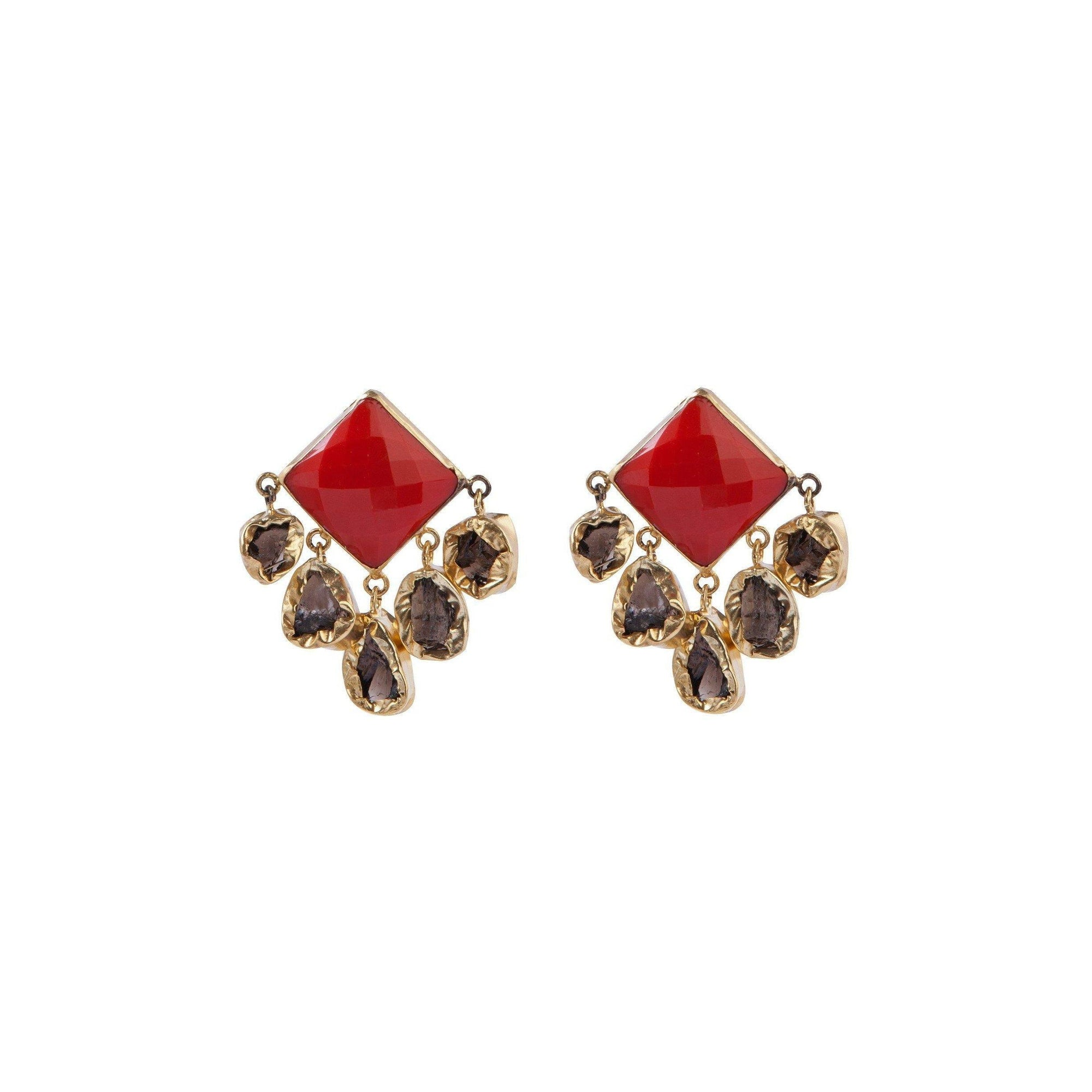 Nebula five stone drop earrings in red onyx and smoky topaz - Statement Pieces