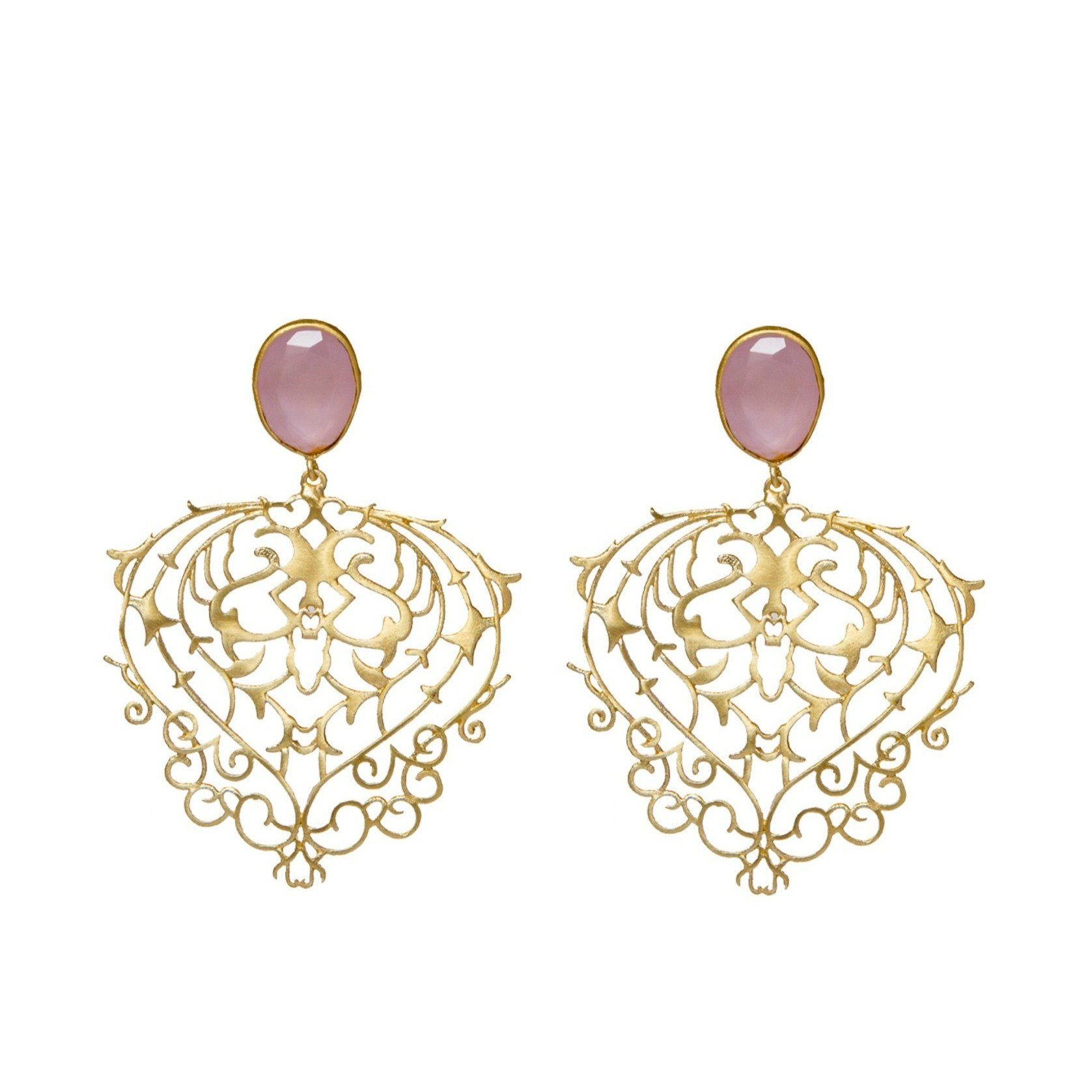 Octavia filigree earrings in rose quartz - Statement Pieces