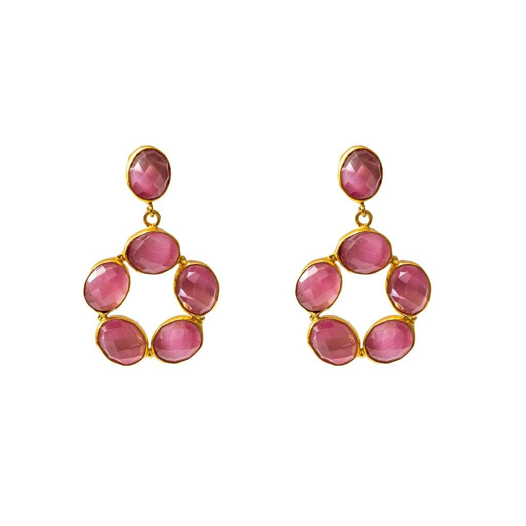 Ophelia mini gemstone drops in pink onyx - Statement Pieces