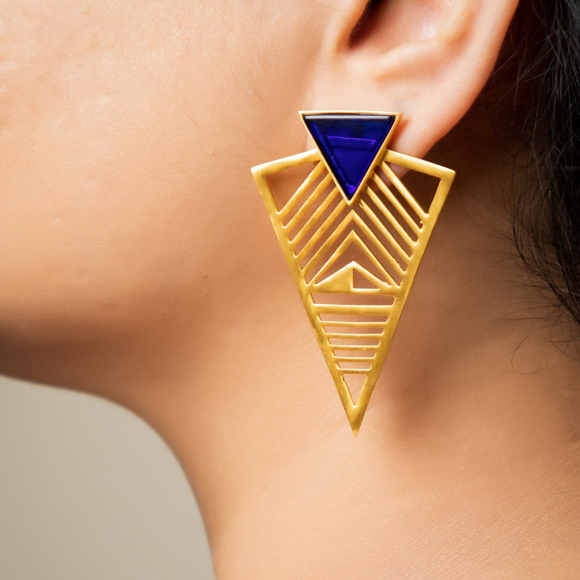 Pero triangle filigree earrings in blue onyx - Statement Pieces