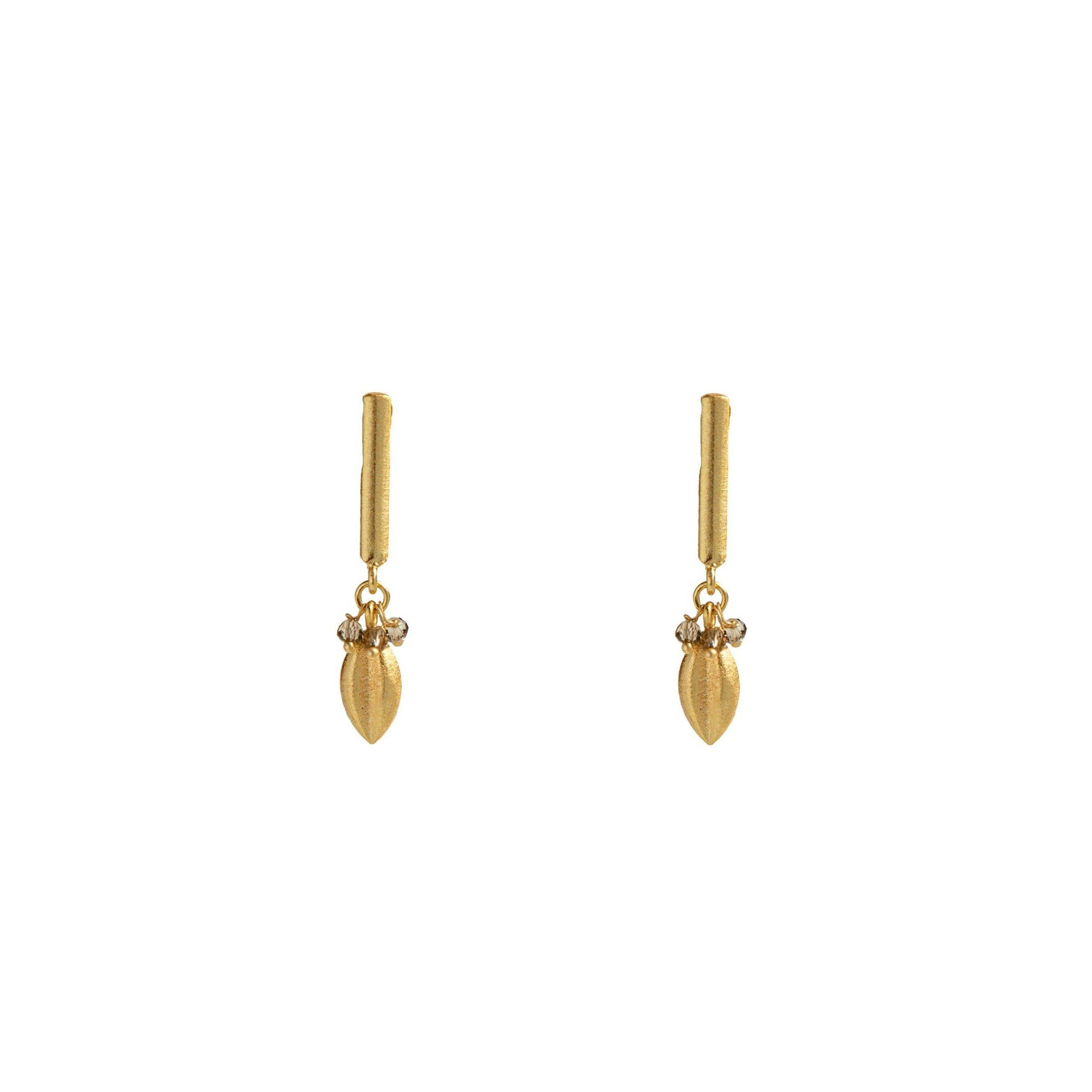 Stud - Ceres Stick Studs With Smoky Topaz Beads