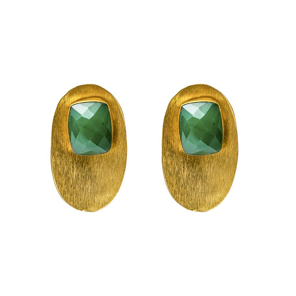 Stud - Luciana Studs In Green Onyx