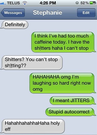 coffee shitters autocorrect fail