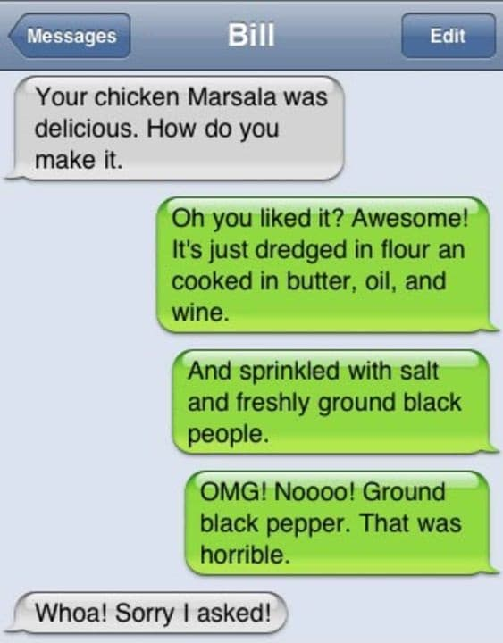 secret ingredient black people autocorrect fail