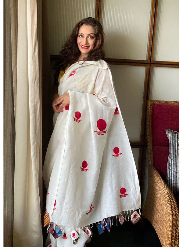 White Linen Bindi Saree