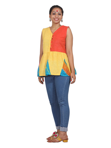 Dress - Color Block Peplum Top - Prathaa