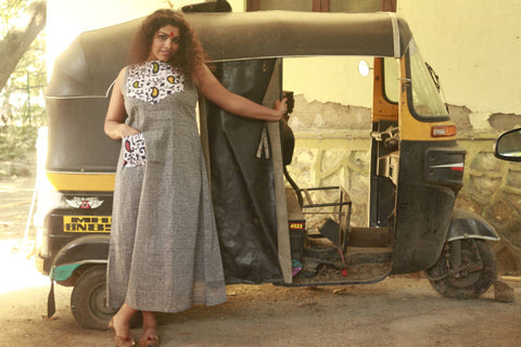 Dress - Grey dress with yoke - Prathaa