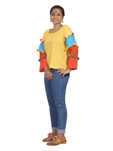 Top - Multi Color Cotton Top - Prathaa