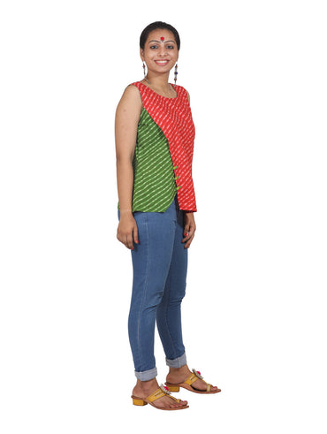 Top - Dual Color Leheriya Top - Prathaa