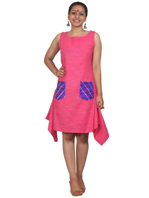 Dress - Pink Dress with Side Squares - Prathaa