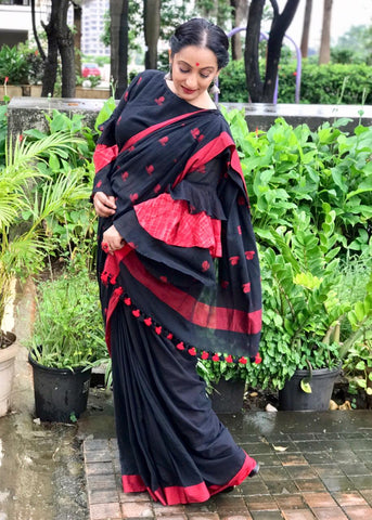 Saree - Black Bindi Jamdani Saree - Prathaa