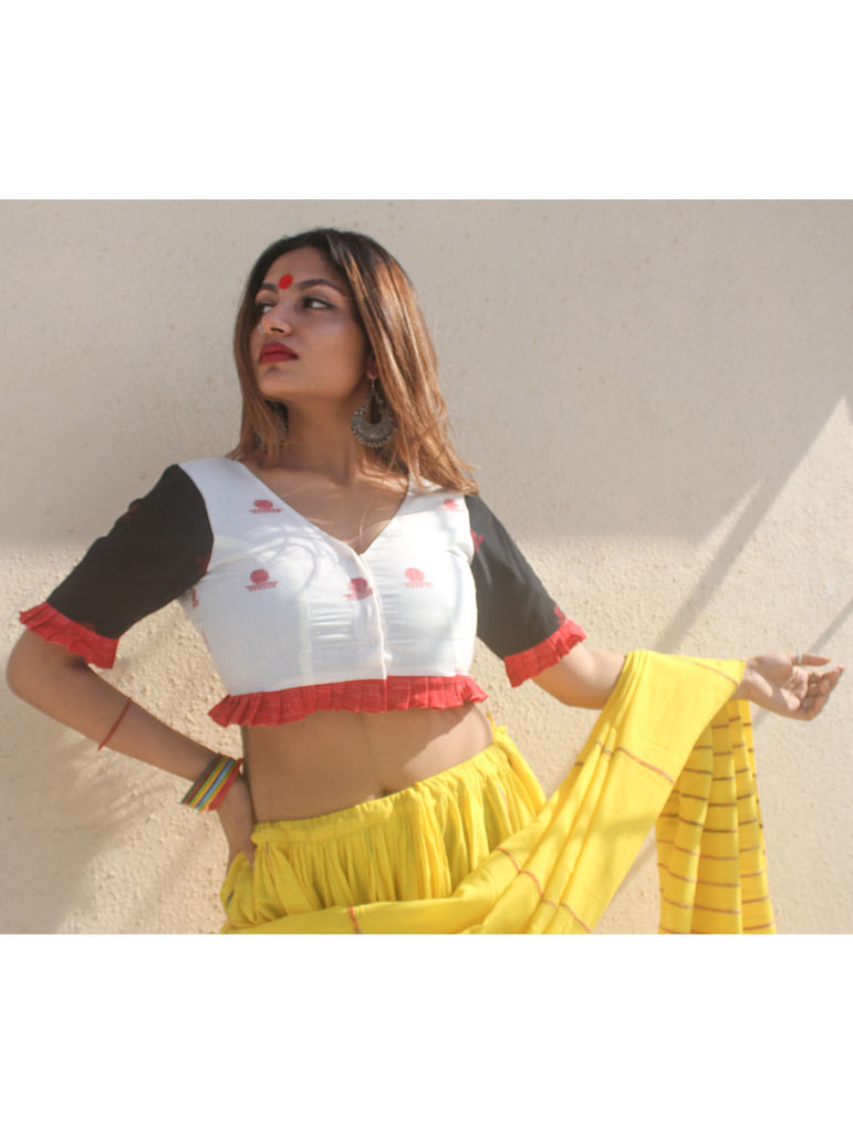Blouse - White And Black Princess Cut Blouse with Pleats in Jamdani Fabric - Prathaa