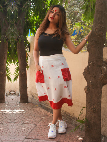 51c62c09 Bottom - White A-line Bindi Motif Skirt With Red Handloom Pockets - Prathaa