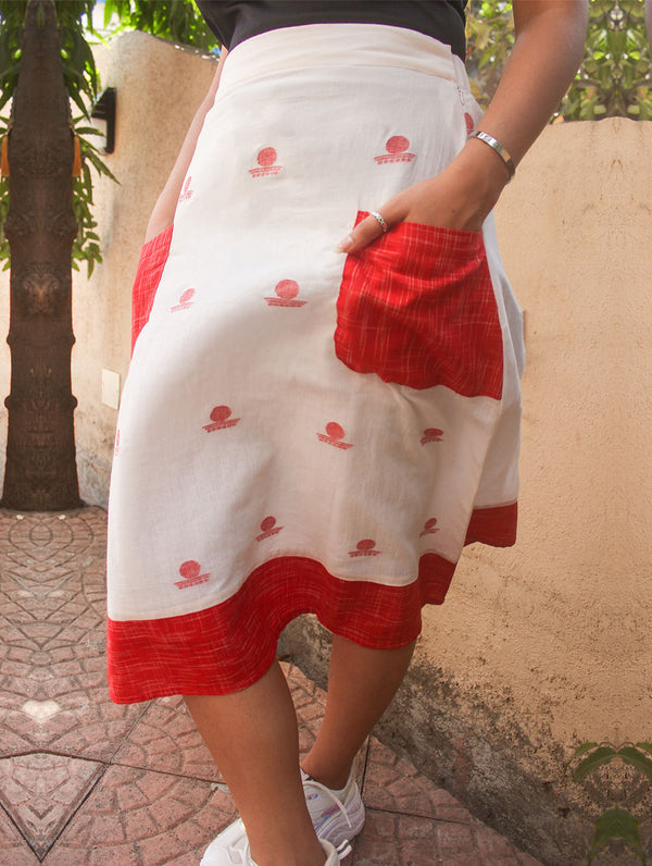 Bottom - White A-line Bindi Motif Skirt With Red Handloom Pockets - Prathaa