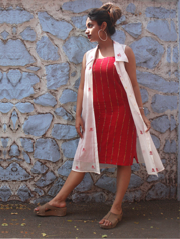 Dress - White Shirt Dress With Bindi Motifs and Red Khesh Slip - Prathaa