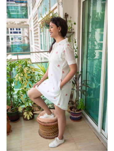 Dress - White Bindi Shirt Dress in Jamdani Fabric - Prathaa