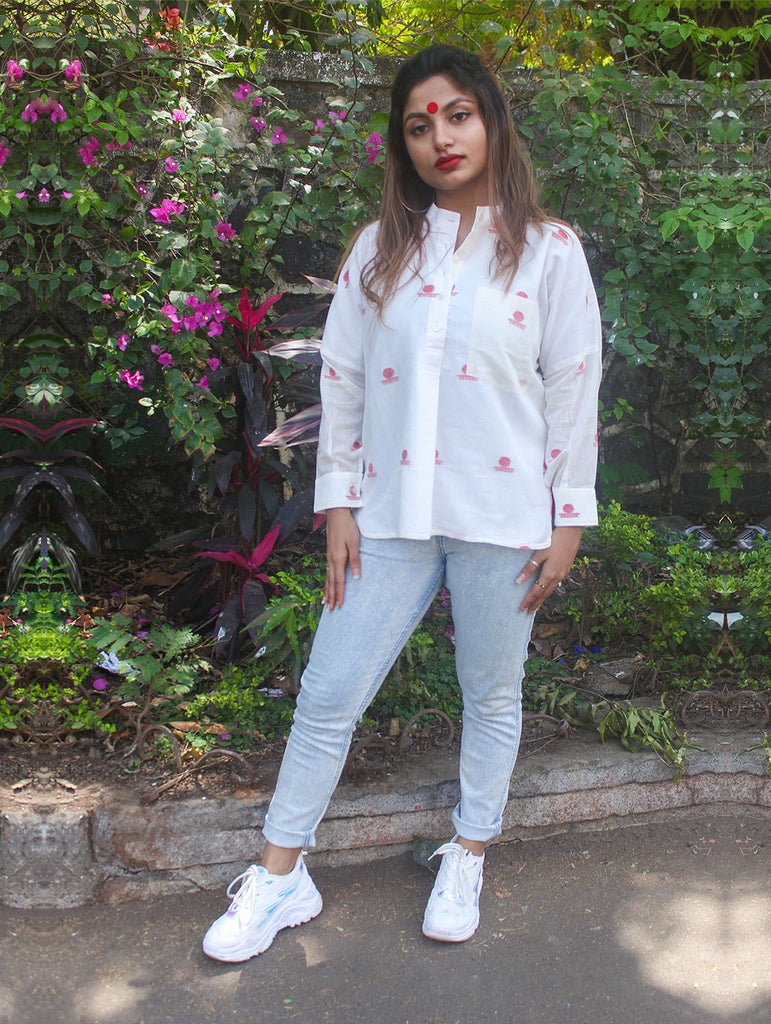 Top - White Anti-Fit Apple Cut Shirt With Bindi Motifs - Prathaa