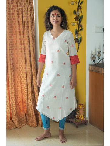 Tunic - White Asymmetrical Tunic In Jamdani Fabric - Prathaa