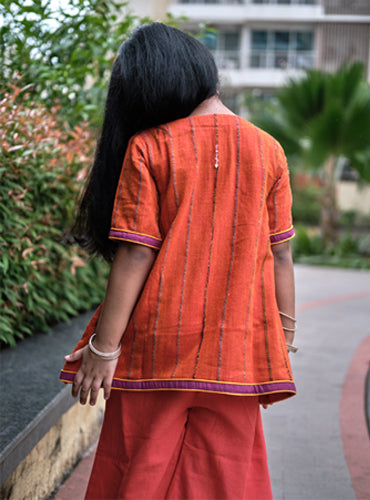 Kids Orange Khesh Overlapped Kurti