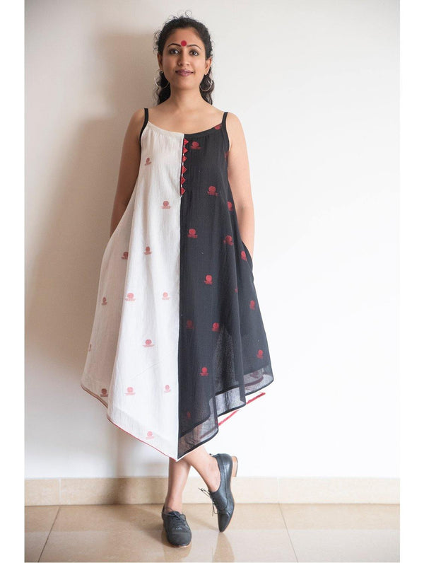 Black and White Asymmetric Dress in Jamdani Fabric