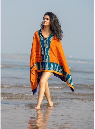 Orange Khesh Kaftan Top with Indigo Hand Block Border