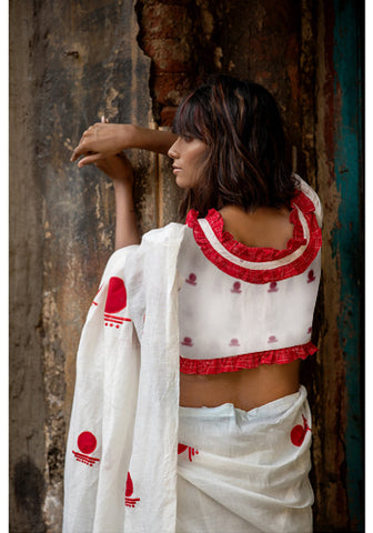White Bindi Jamdani Blouse With Frills