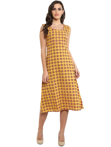 Dress - Yellow Printed A-Line Dress in Handloom Cotton - Prathaa