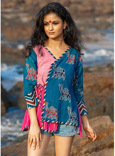 Pink and Indigo Patchwork Angrakha Top
