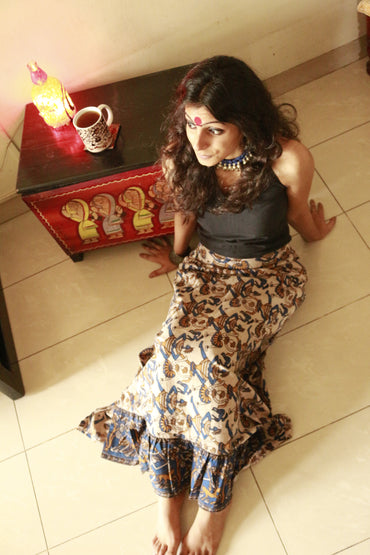 Bottom - Kalamkari frill skirt - Prathaa