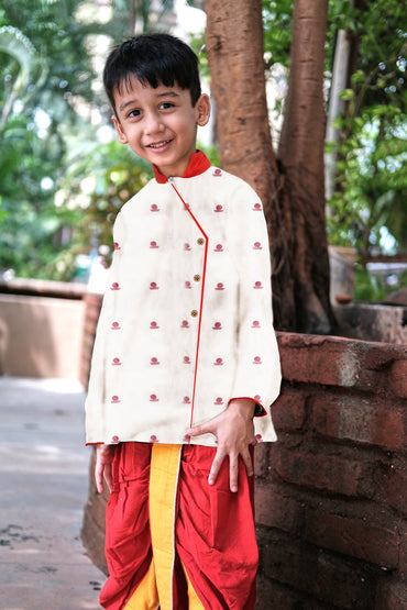 Kids White Bindi Kurta Dhoti Set