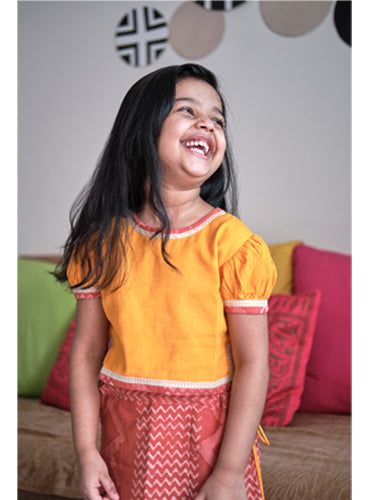 Kids Yellow Handloom Choli Blouse