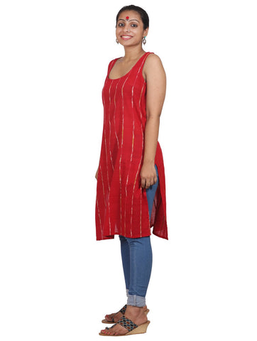 Red Khesh Short Tunic With Racer Back