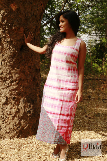 Dress - Pink tie and dye ajrak dress - Prathaa