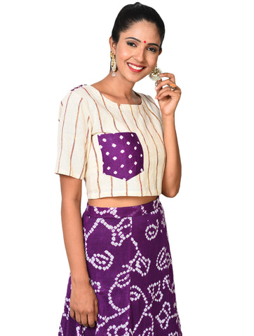 Top - Purple crop top with pocket - Prathaa