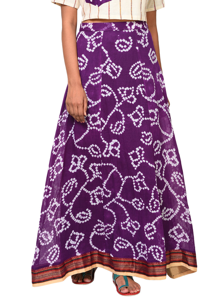 Bottom - Purple panel skirt with border - Prathaa