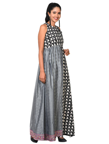 Dress - Grey Layered Maxi Dress - Prathaa