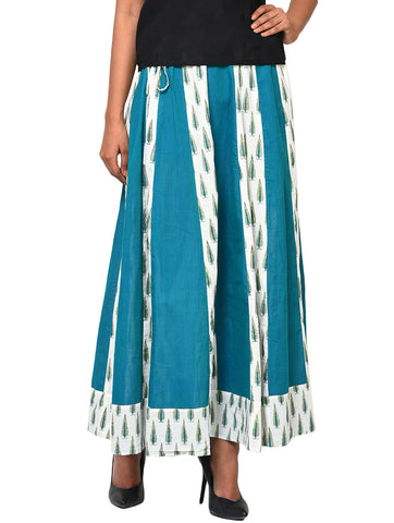 Bottom - Panel Skirt in White and Turquoise - Prathaa