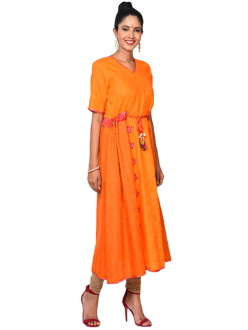 Tunic - Orange Flare Tunic with Intricate Embroidery - Prathaa