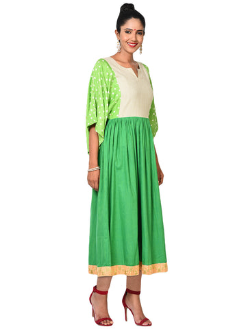 Dress - Green Flare Sleeve Dress - Prathaa