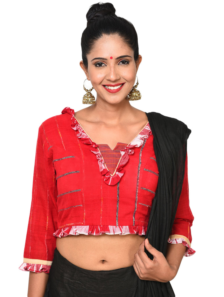 Top - Bengali traditional blouse with frill sleeves - Prathaa
