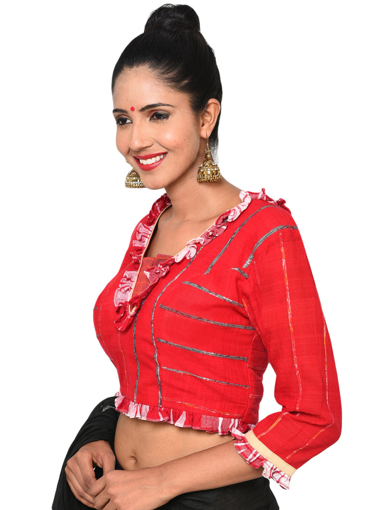 bf906f7b60d79 Bengali traditional blouse with frill sleeves – Prathaa - weaving ...