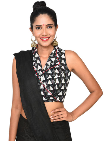 Blouse - Overlap blouse with jacket collar - Prathaa