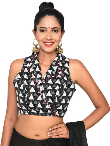 Top - Overlap blouse with jacket collar - Prathaa