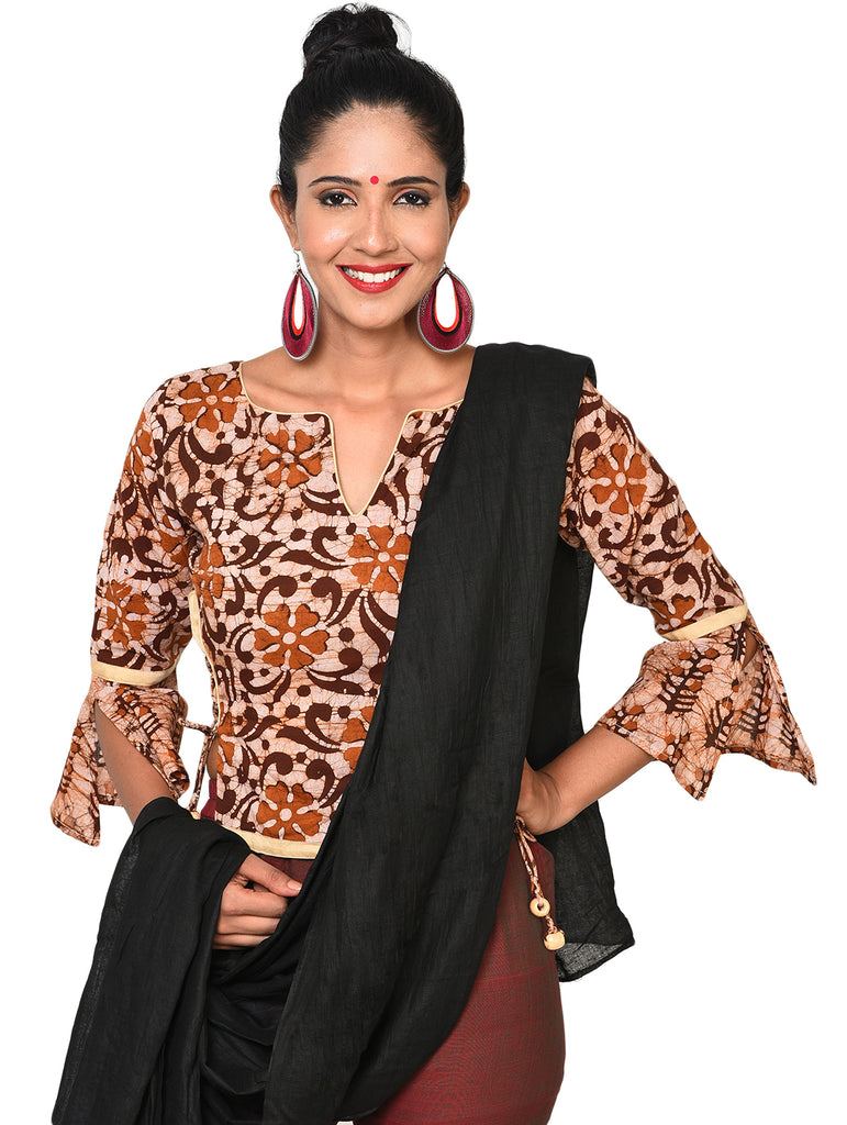Blouse - Brown Batik bell sleeves blouse - Prathaa